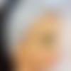 Bandeau démaquillage ou soins du visage en éponge bambou et tissu coton argenté