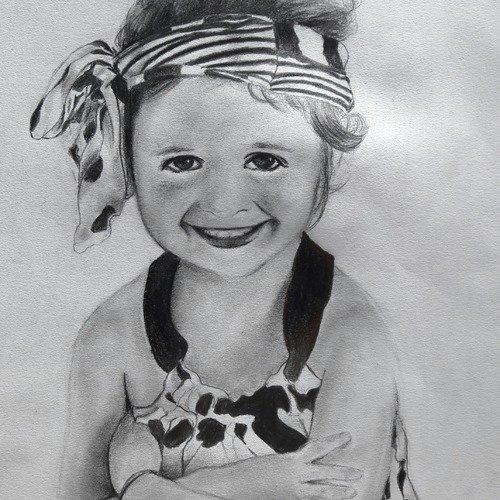 Portrait Dessin Aux Crayons D Apres Photo Un Grand Marche