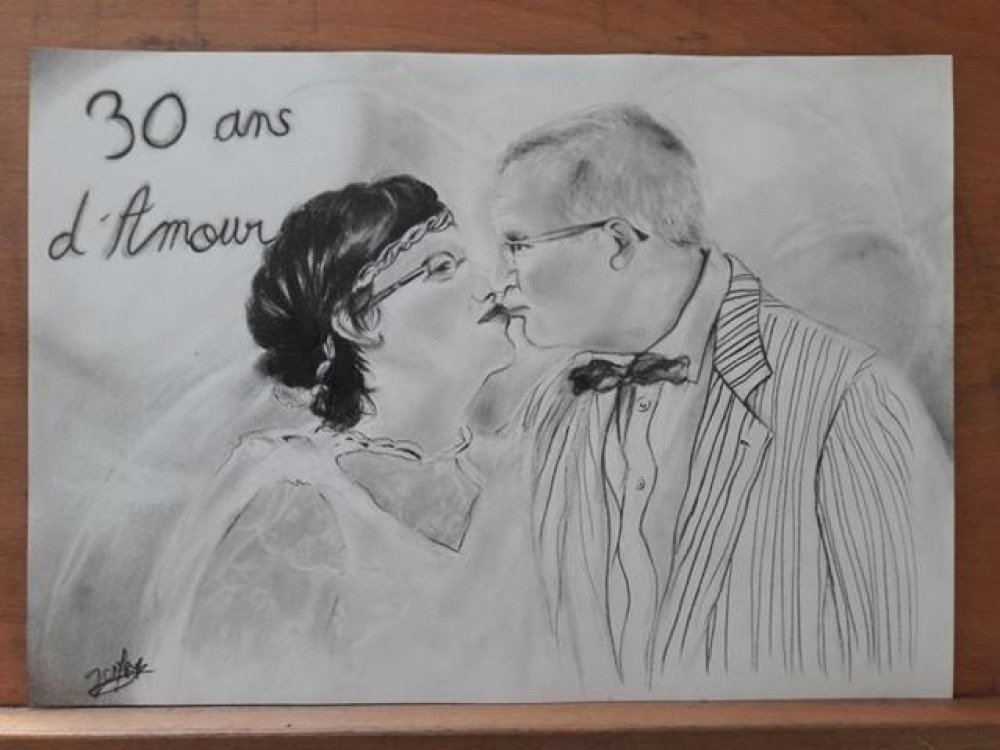 Dessin Portrait De Couple Aux Crayons Un Grand Marche