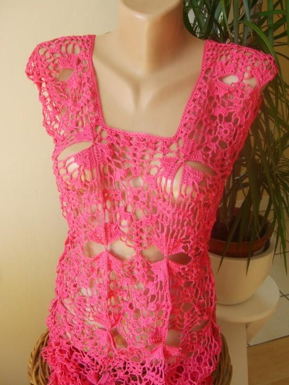 robe au crochet fait main  coton  T 36/38