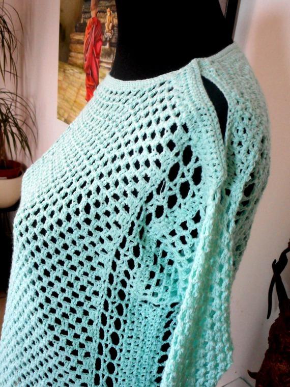 pull femme, pull crochet, pull maille ajourée vert d'eau, crochet coton