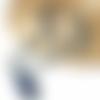 Sautoir boheme - collier long perle bois bleu