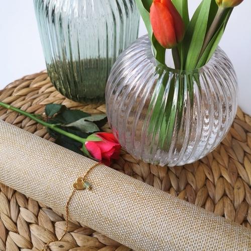 Bracelet dore coeur et pierre naturelle de fluorite verte
