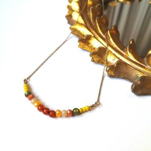 Collier dore perles rouges