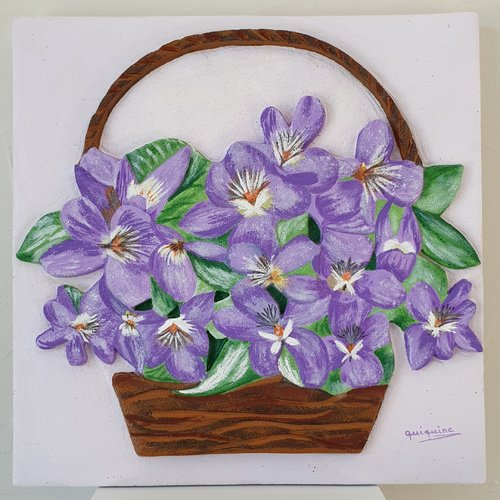 Tableau sculpture et peinture  panier de violettes