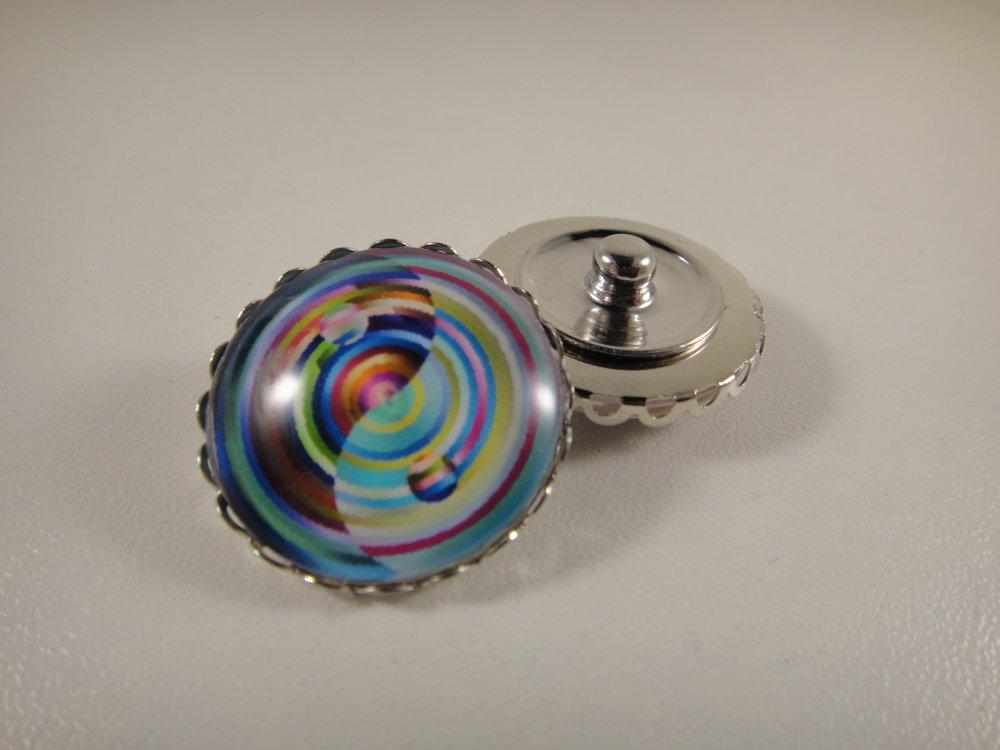 Cabochon bouton pression chunk 25mm en verre pour adapter sur mes bijoux