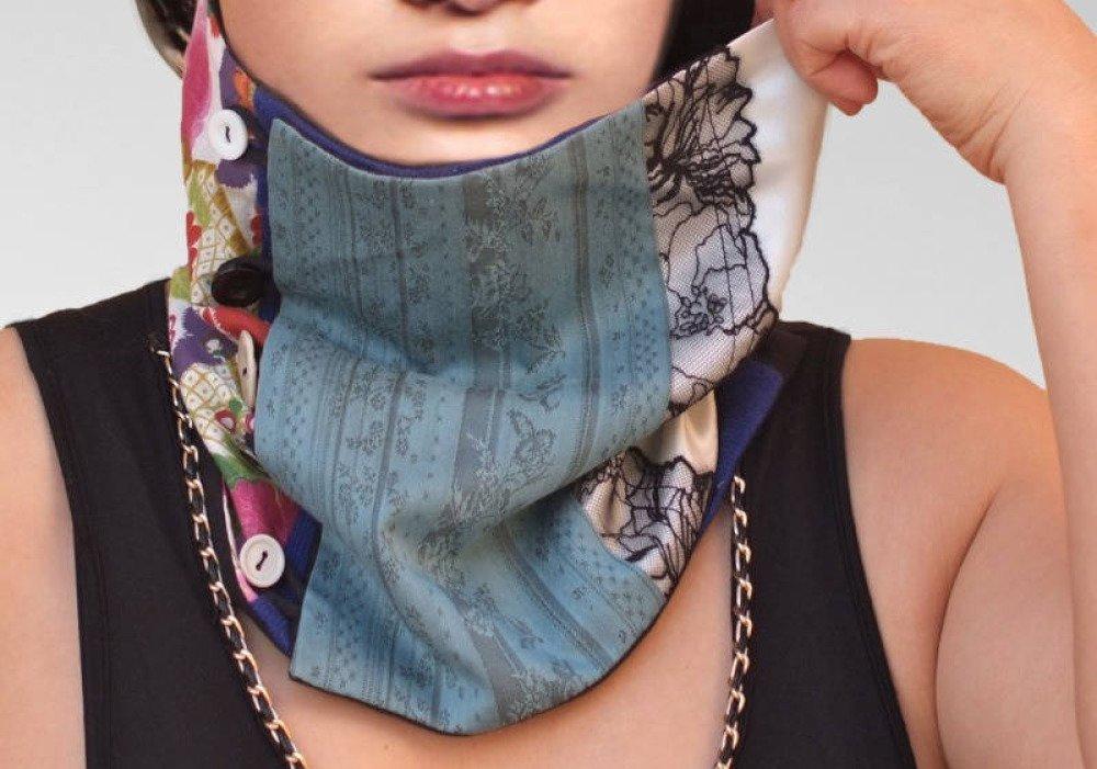 Patchwork foulard, col écharpe en soie,coton,dentelle,satin et laine,boutons décoratifs
