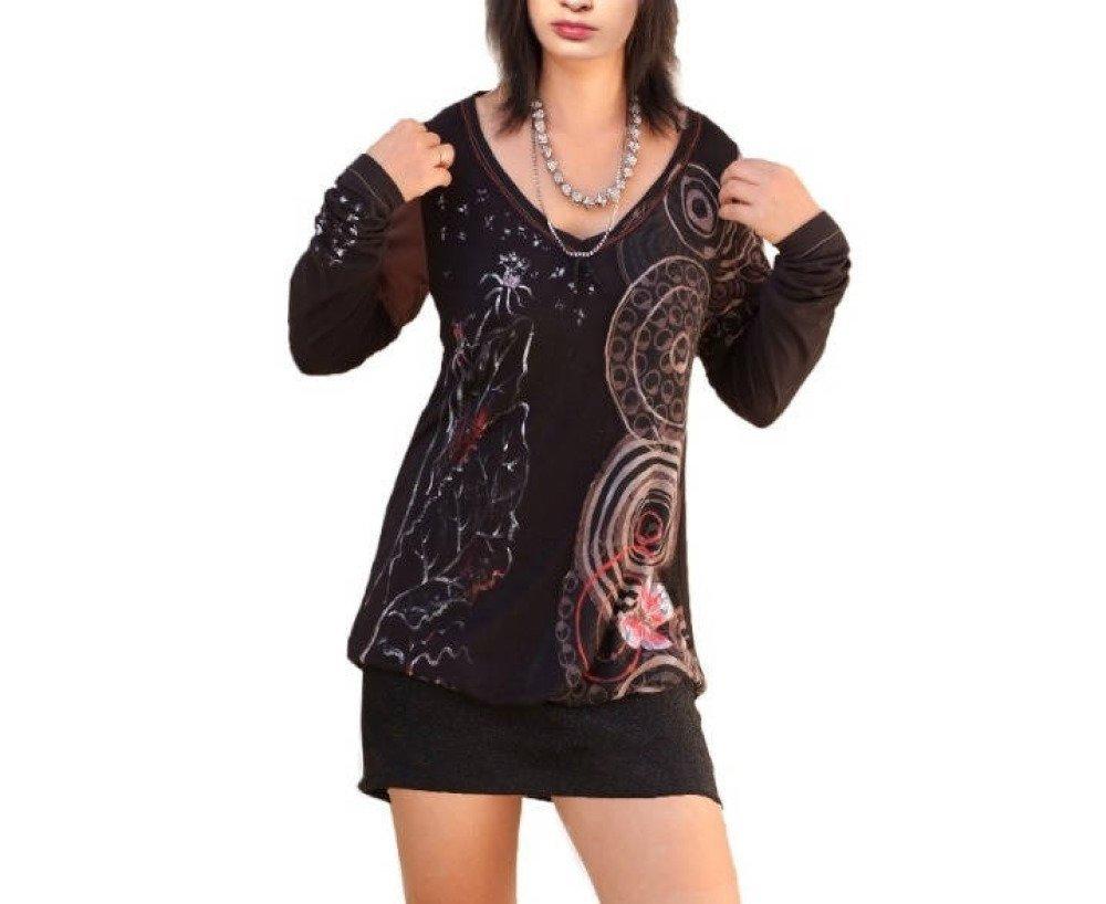 Robe tunique tissue mélange noir et marron,haut blouse chemise recyclée manches longues,