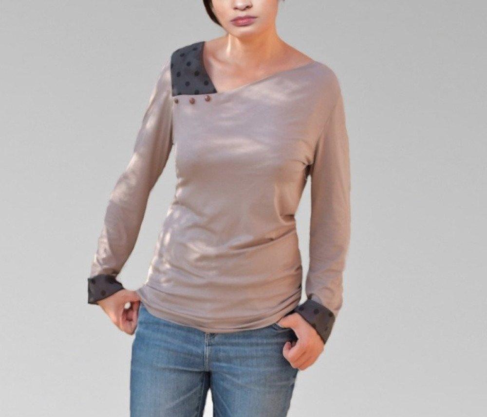 Haut Top Chemises asymetrique noir et beige en Jersey coton, manches volant petit pois