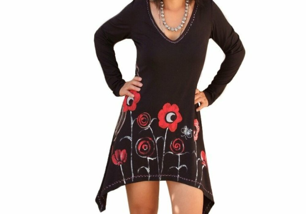 Tunique robe femme aux manches longues en fleurs de jardin peintes à la main, tuniques asymétriques, fabrique en France