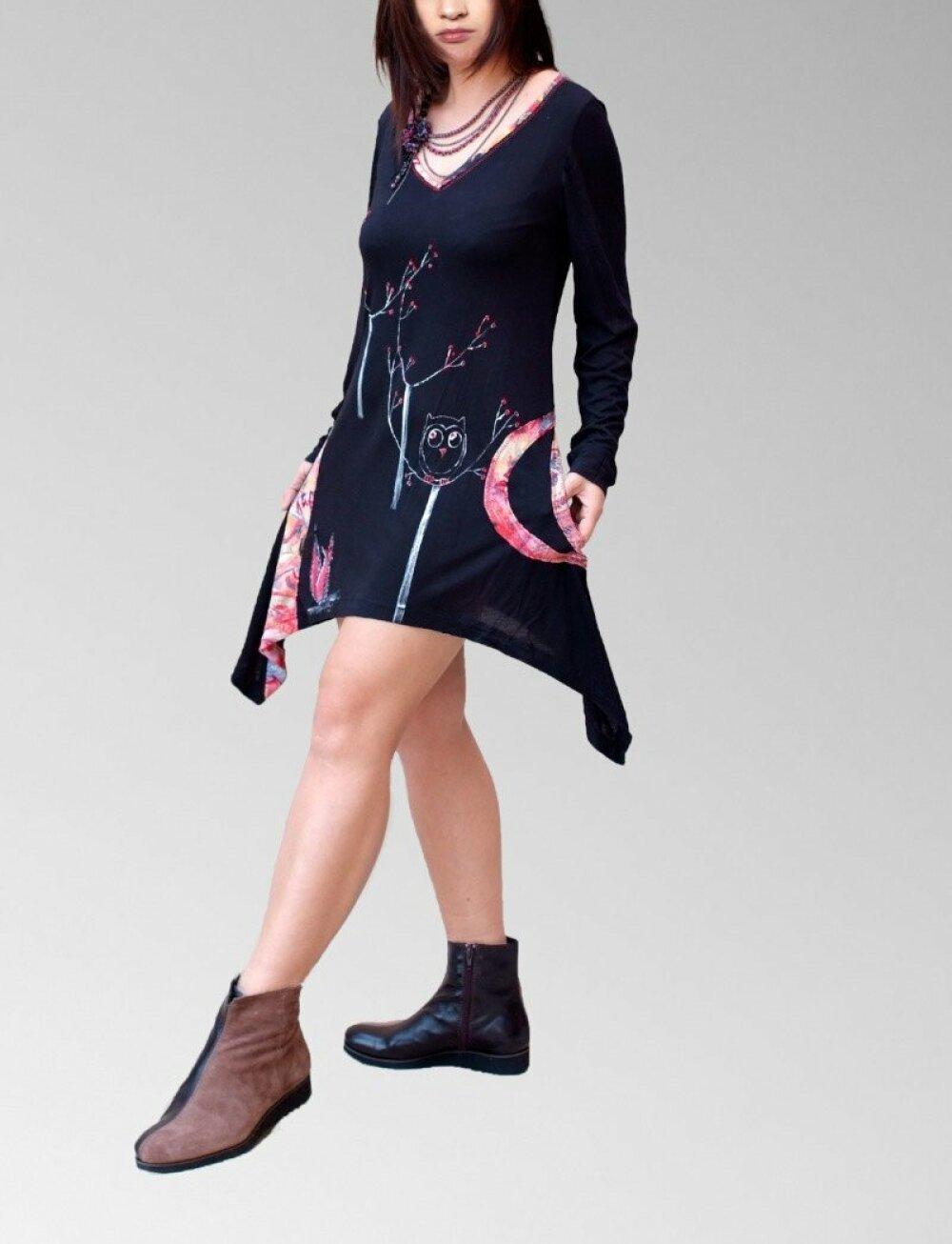 Robe tunique asymétrique forestier/peint à la main/ arbres hiboux loups / tuniques en jersey de coton/fait main avec amour