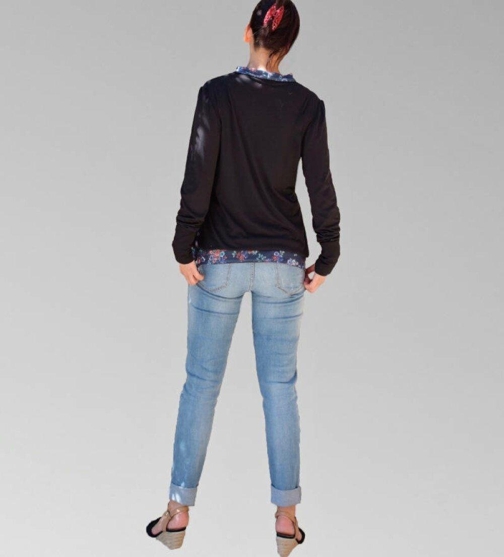 Haut Top Tunic fantaisie encolure asymétrique en Jersey noir manches longue fait main en France avec amour