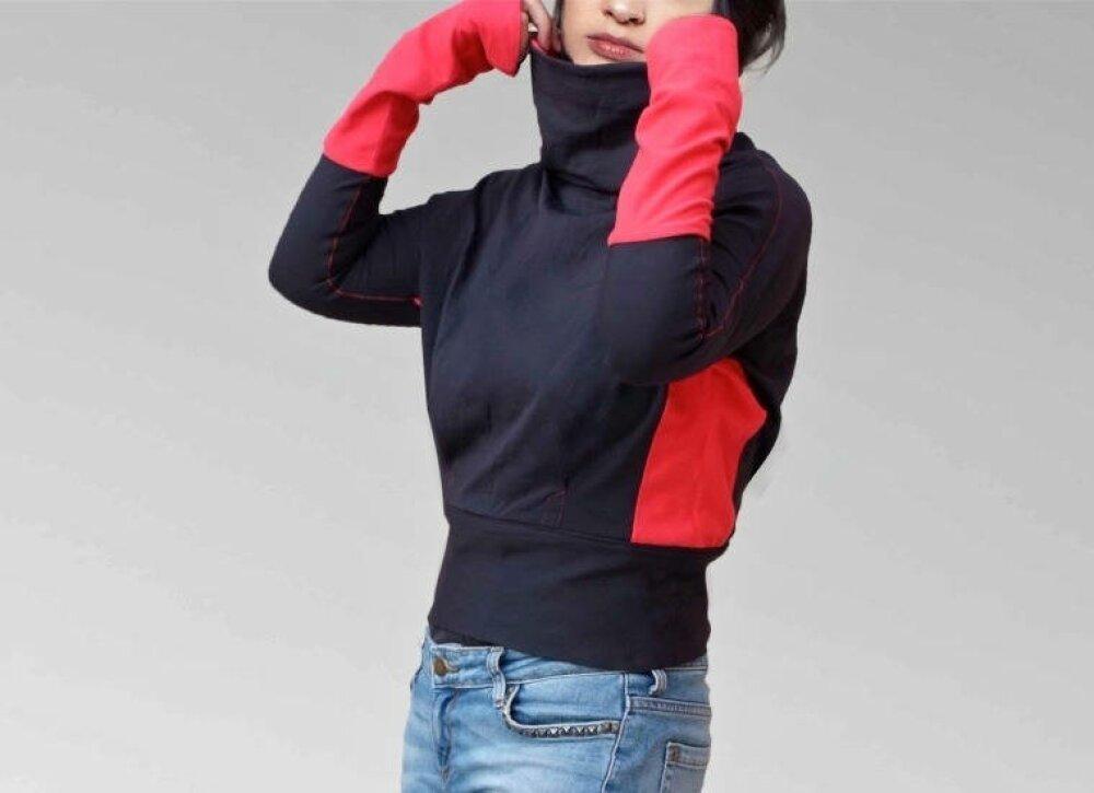 Sweater shirt court aux manches extra longues, Cowl neck en noir et rouge,fait main en france avec amour