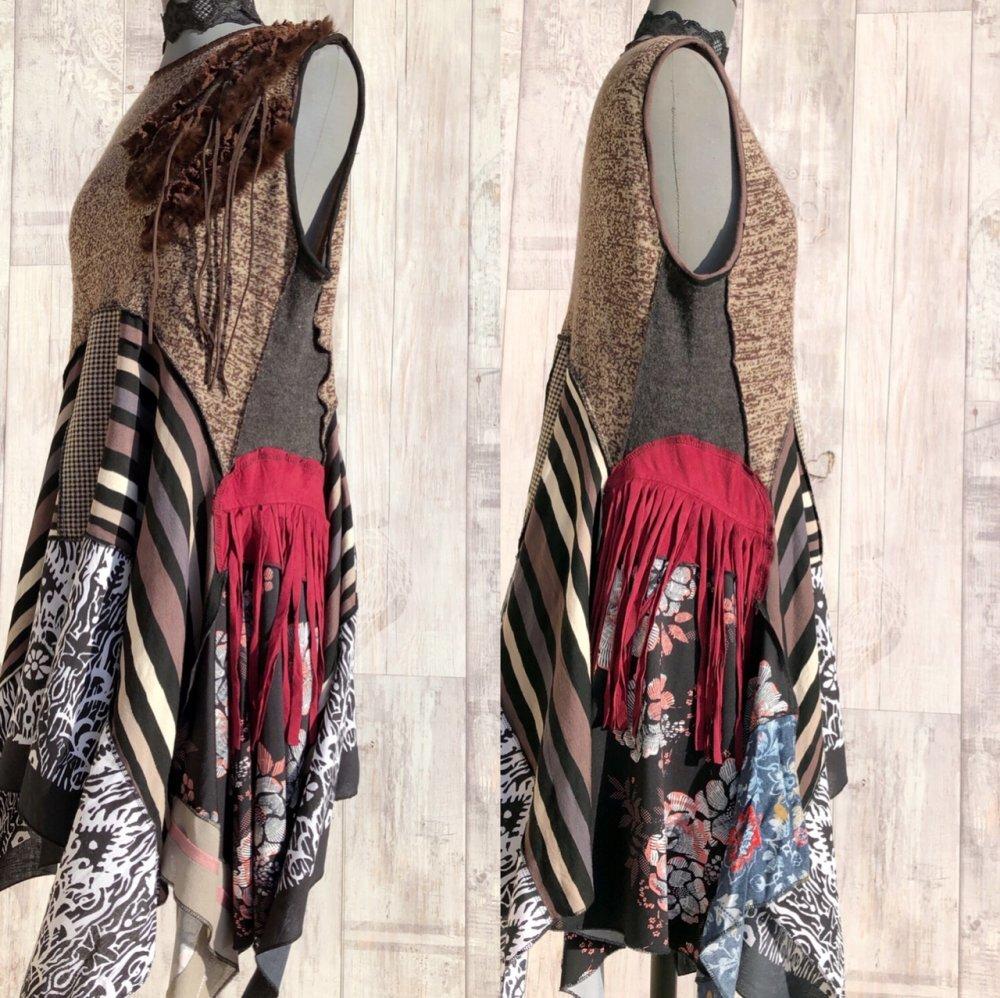 Asymétrique Upcycled Robe Tunique ,Eco Patchwork,Boho ,Hippie,Vintage,Rostic Art,Junk Gypsy , Edgy Rock,Vêtement Recyclés