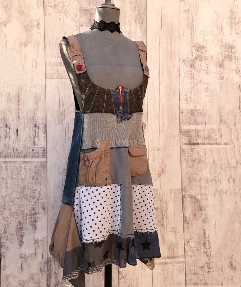 Robe Bulle Bretelle Eco Patchwork,Hippie Boho, Vintage Broderie&Dentelles,junk Gypsy,Grunge Rock,Street wear Recyclés S/M
