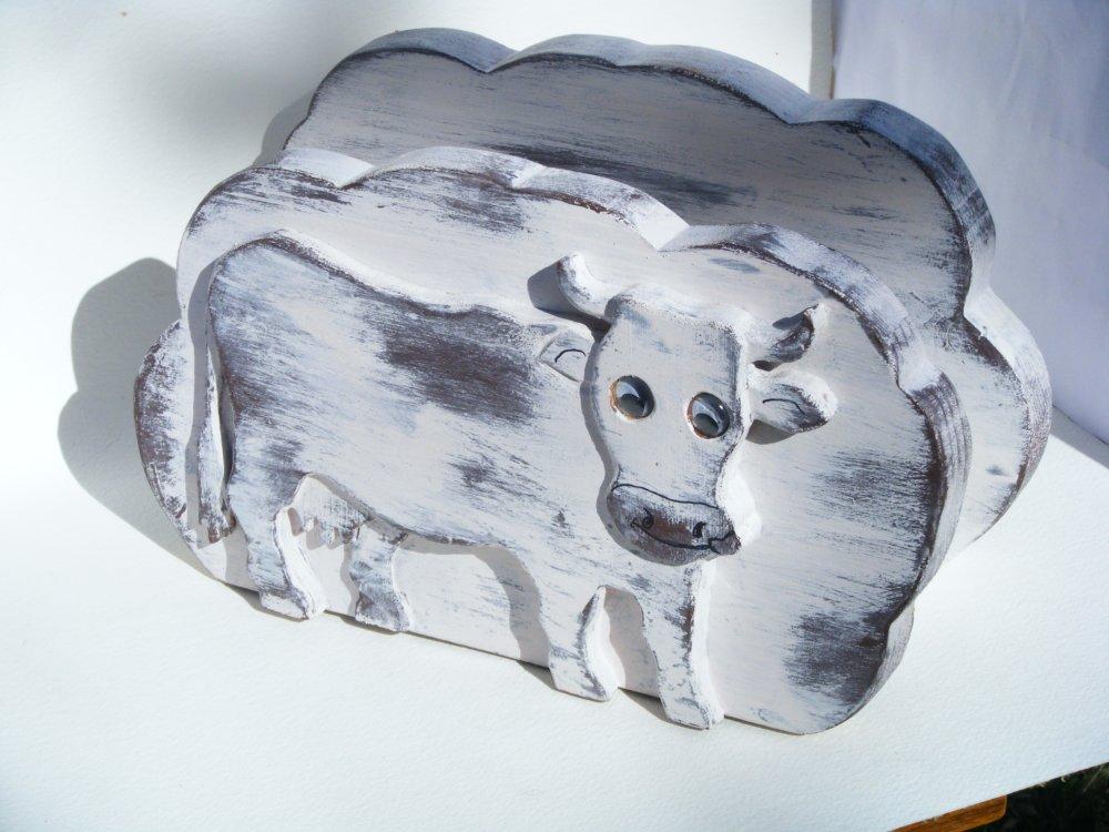 Porte lettres en bois, au motif de vache.n°2