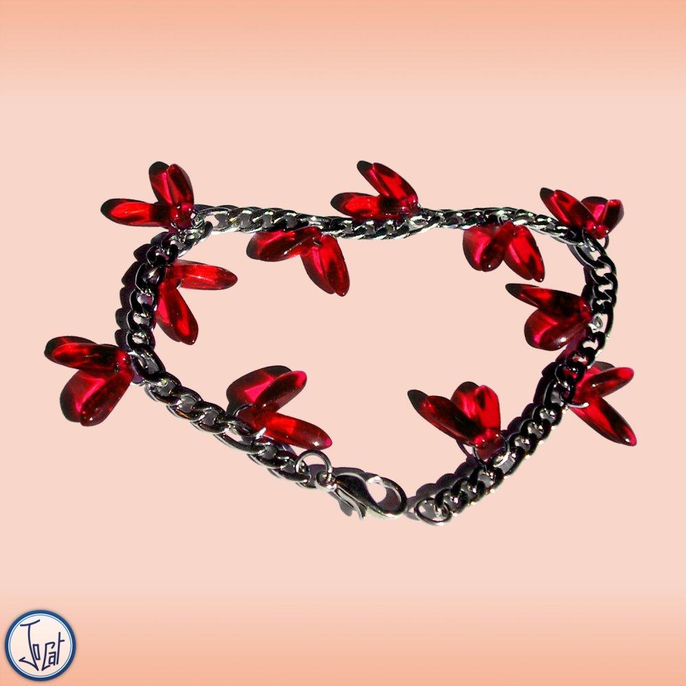 Bracelet rouge cerise en acier inoxydable et verre de République Tchèque