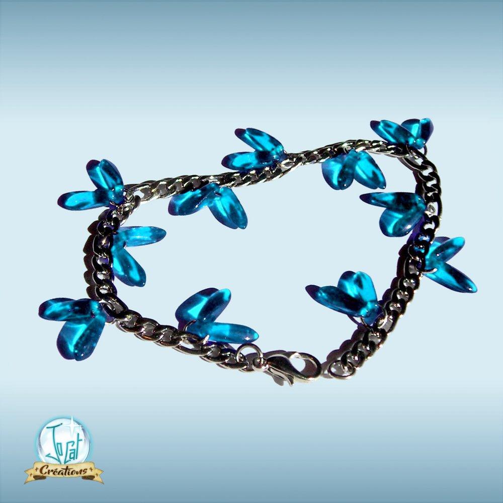 Bracelet bleu azur en acier inoxydable et verre de République Tchèque