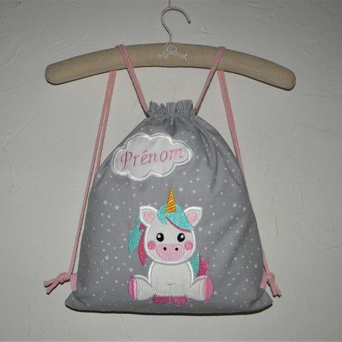 Sac à dos enfant personnalisable avec le prénom brodé, sac à dos pochon