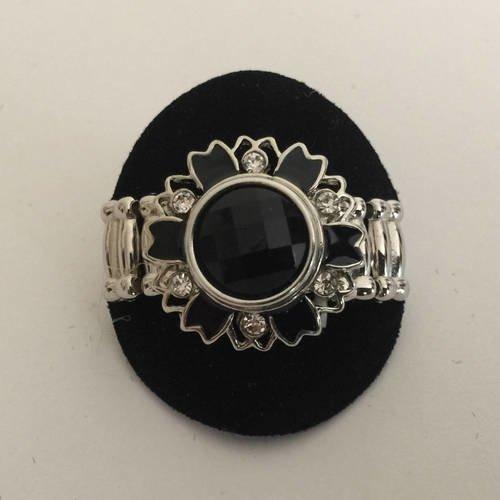 Bague bouton, bouton pression, ring, snap ring, joce150652creaconcep, bague réglable, bague strass émail, bouton facetté noir, métal argenté