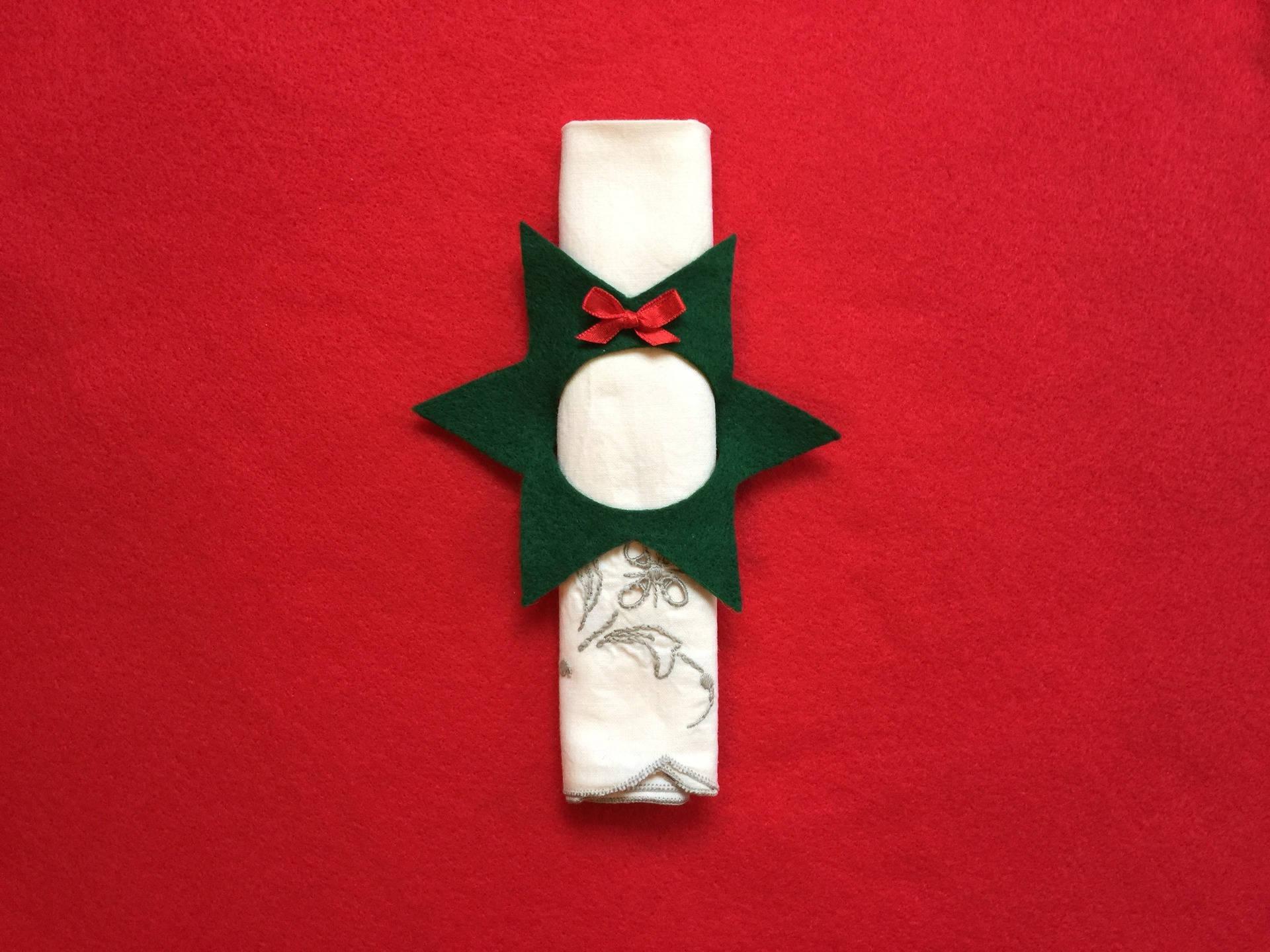 Rond De Serviette A Fabriquer Pour Noel noel 5 ronds de serviette décoration noêl feutrine ruban