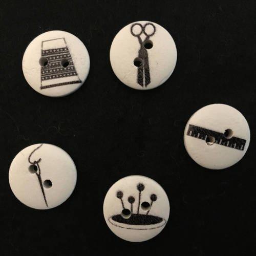 5 boutons, boutons, sewing button, swing thème, joce150652creaconcep, bouton bois, bouton 2 trous, thème couture, bouton blanc, bouton noir,