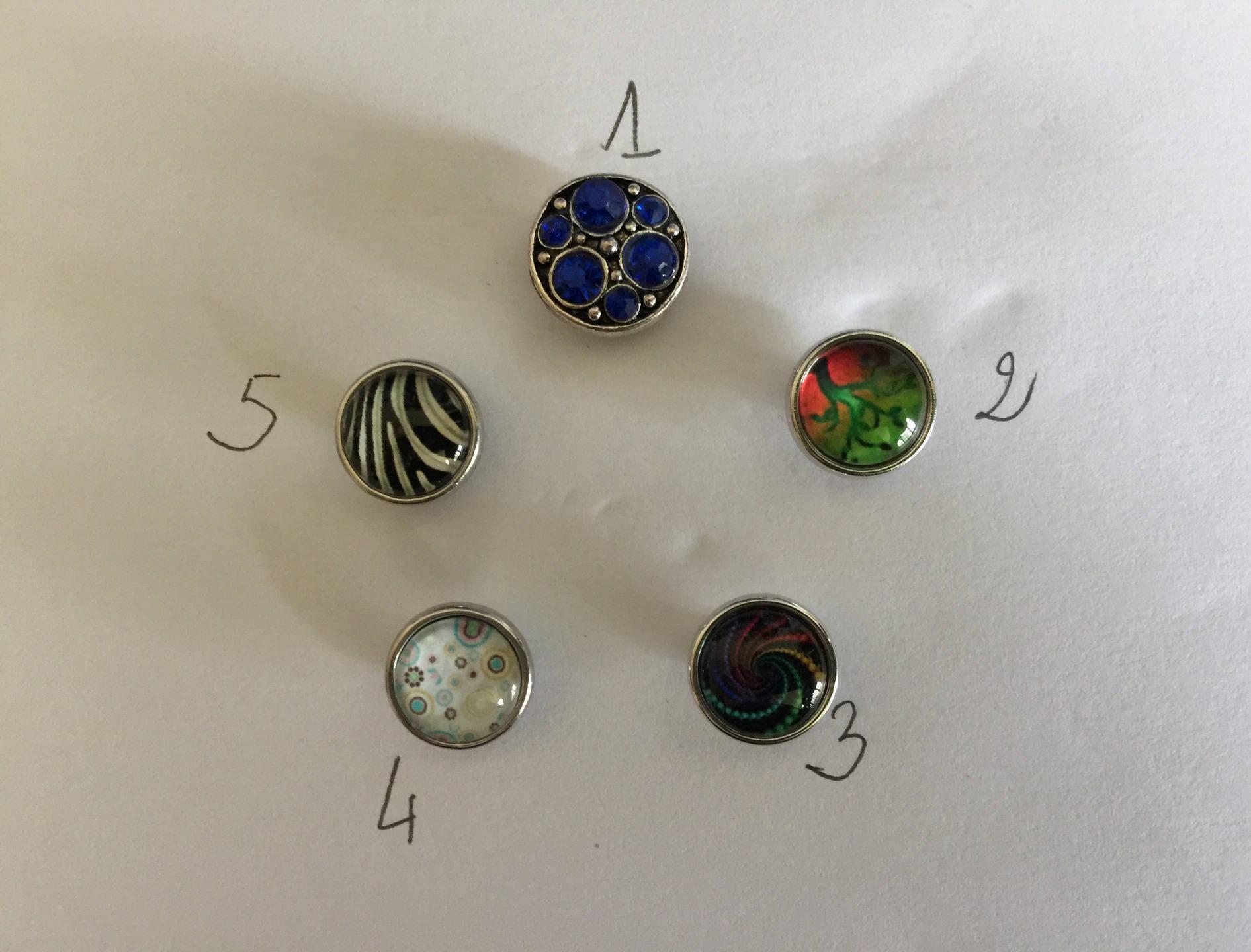 Mini bouton pression bijou interchangeable chunk verre métal argenté tête 4,5mm