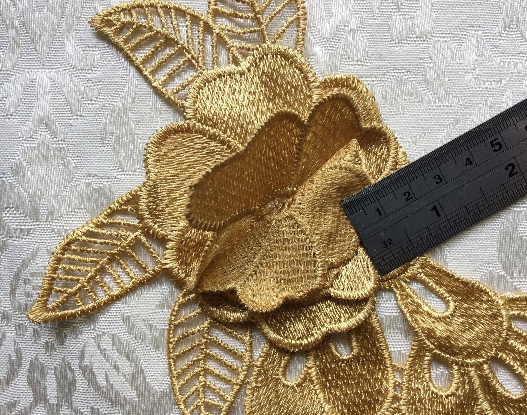Appliqué, appliqué dentelle, lace applique, golden, Joce150652creaconcep, grand appliqué, appliqué brodé, appliqué fleurs, fil métal doré