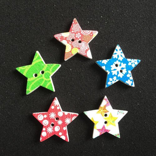 5 boutons, bouton étoile, star button, christmas button, joce150652creaconcep, bouton noël, bouton bois, bouton 2 trous, bouton arc en ciel