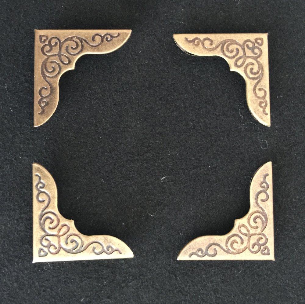 4 Protèges livre, coins livre, coins filigranés, motif floral, métal antique bronze, 22 x 22 mm