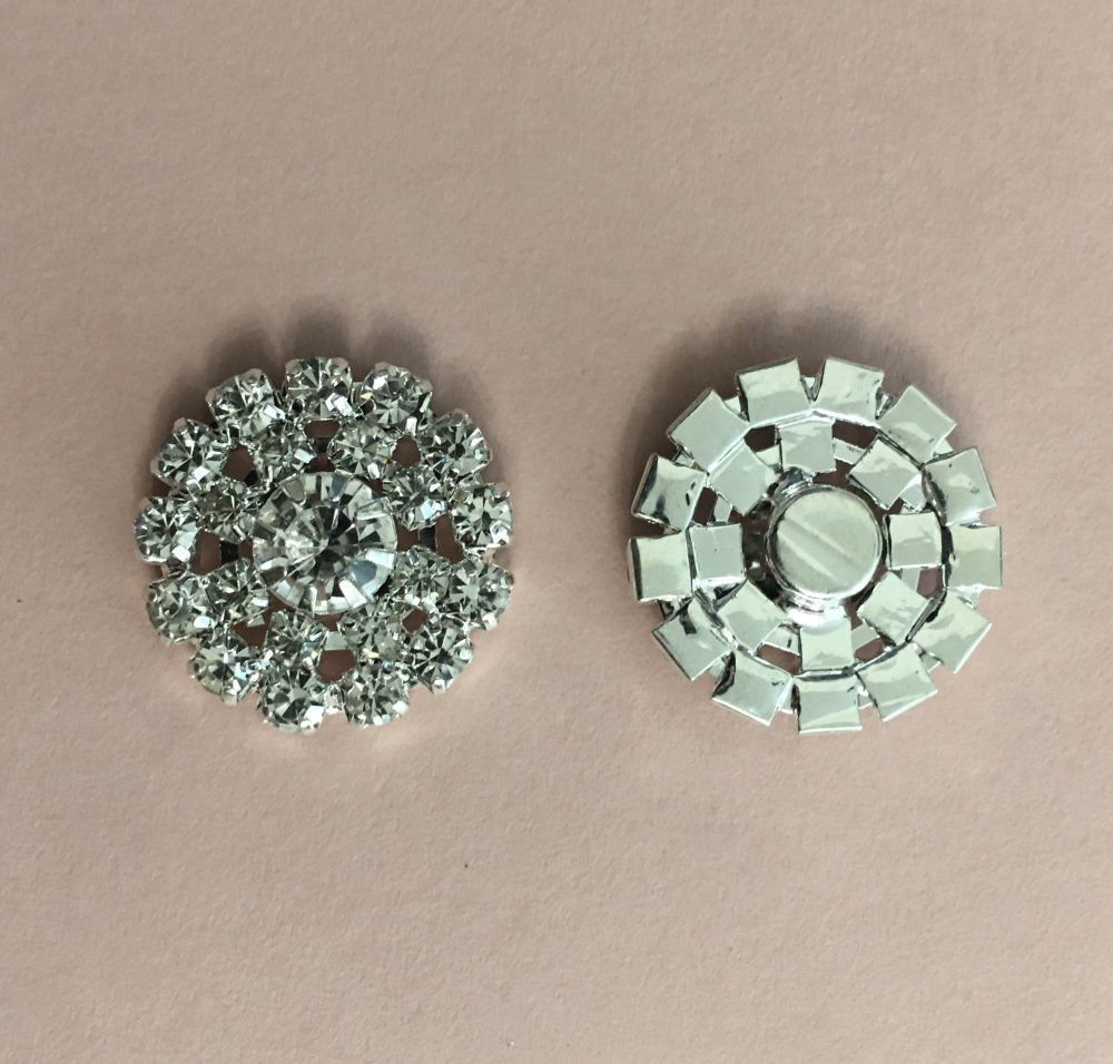 2 Embellissements boutons décoration strass