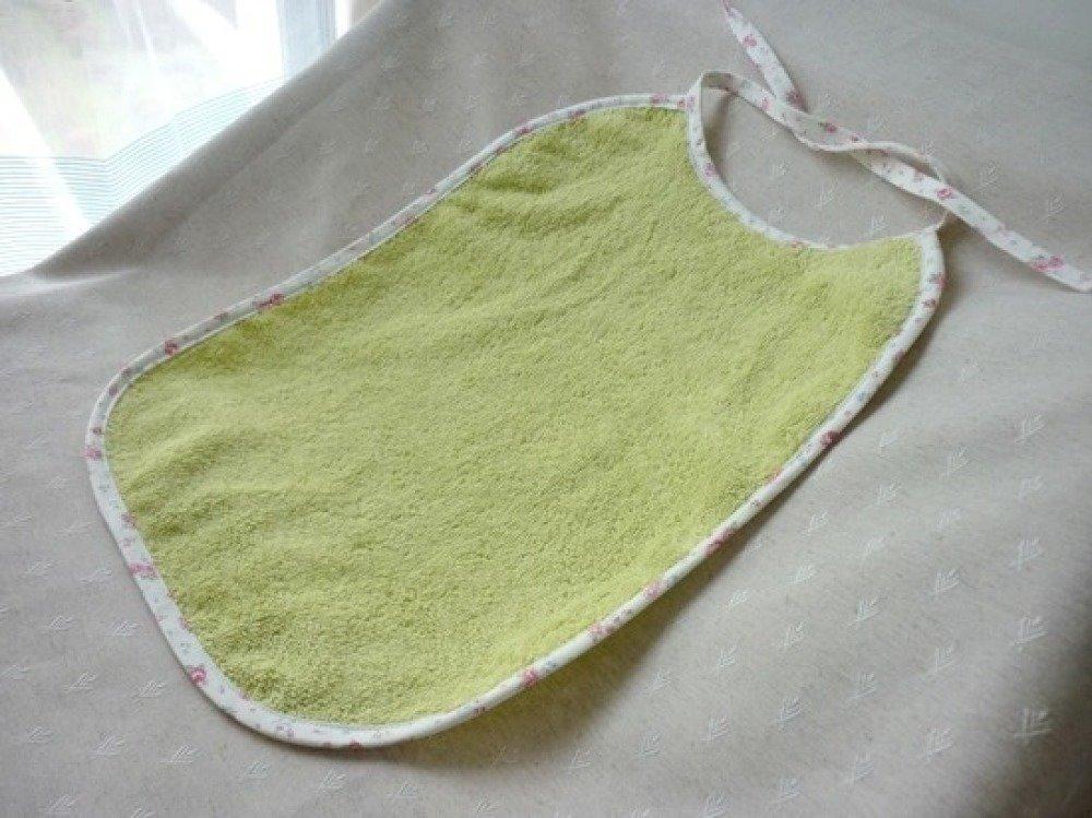 Bavoir XL en coton éponge  - Blanc fleuri & Citron vert