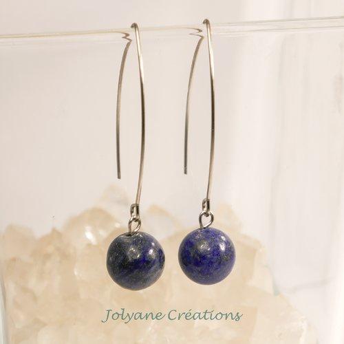 Boucles d'oreilles pendantes en pierre naturelle lapis-lazuli et acier inox