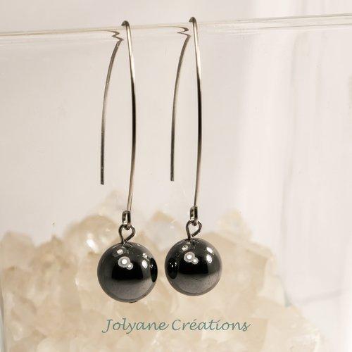 Boucles d'oreilles pendantes en pierre naturelle hématite et acier inox