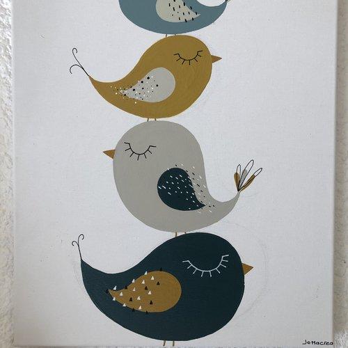 Tableau enfant oiseau / cadre peint décoraiif chambre / décoratio  murale enfant / châssis entoilé oiseaux