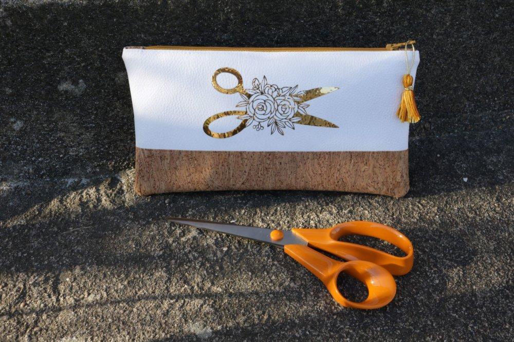 Pochette / Trousse pour ciseaux 25cm et matériel de couture