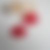 2 sequins éventail émaillé rouge fraise et rouge foncé 30x20 mm 2 faces