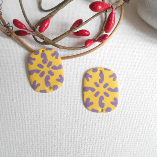 2 connecteurs émaillés jaune et violet 2 faces 27x20 mm