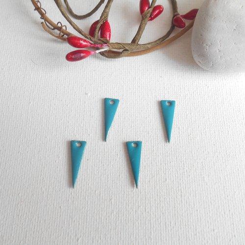 Lot 4 breloques triangle 17x6 mm turquoise foncé
