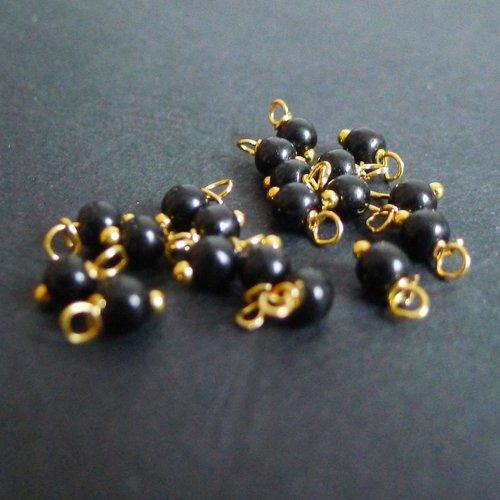 10 perles rondes en verre noir 4mm breloques