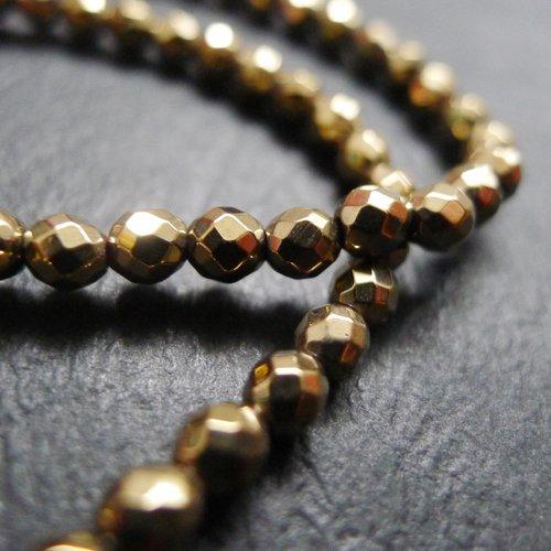 20 Perles de bohème facette 14 mm Couleur Hématite