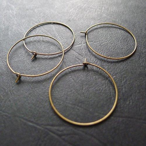 4 créoles rondes anneaux bronze 30mm