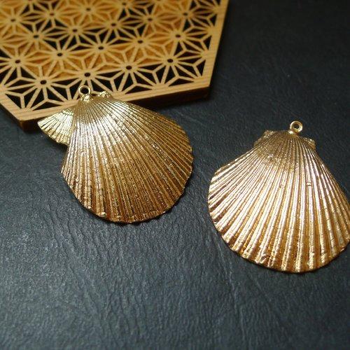 Pendentif coquillage coquille doré 43-53x35-47mm