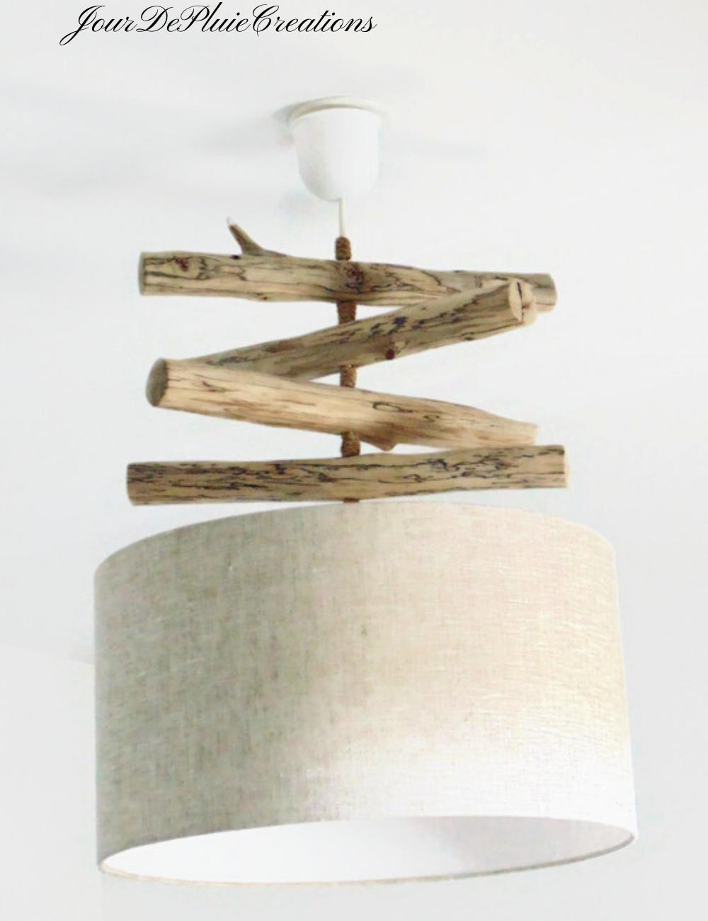 Lustre bois flotté Lin - abat jour cylindre 40 cm - suspension cylindrique - plafonnier rond - idée cadeau