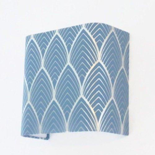 Applique murale format carré art déco bleu argent