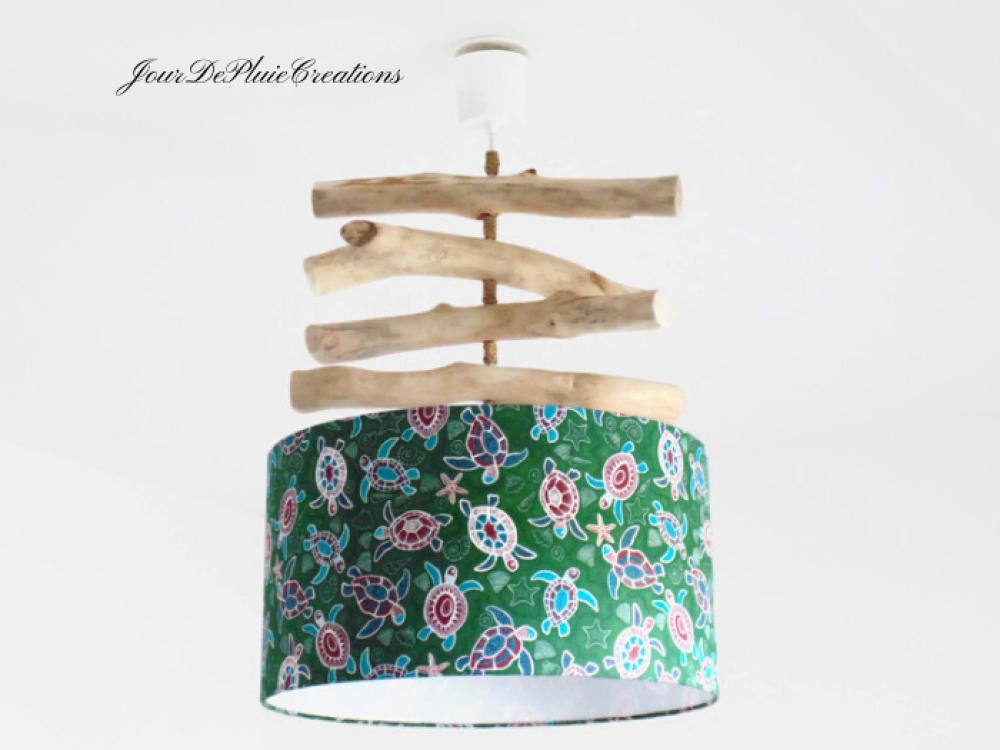 Lustre bois flotté motifs aborigène tortues - abat jour cylindrique 40 cm - suspension cylindre - plafonnier rond - idée cadeau noel