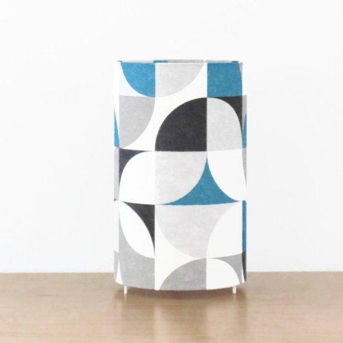 Lampe tube rétro vintage bleu  motifs géométriques ø 15 cm