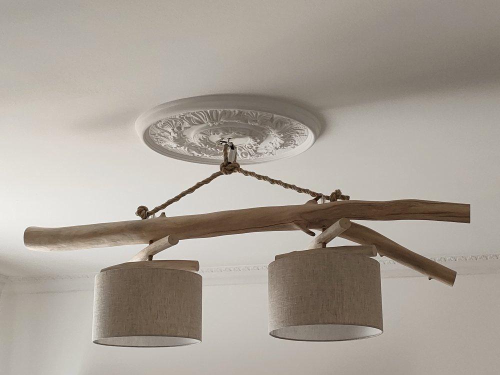 Lustre/plafonnier en bois flotté - lin 30 cm - création unique - double suspension - Led - zen slow deco luminaire