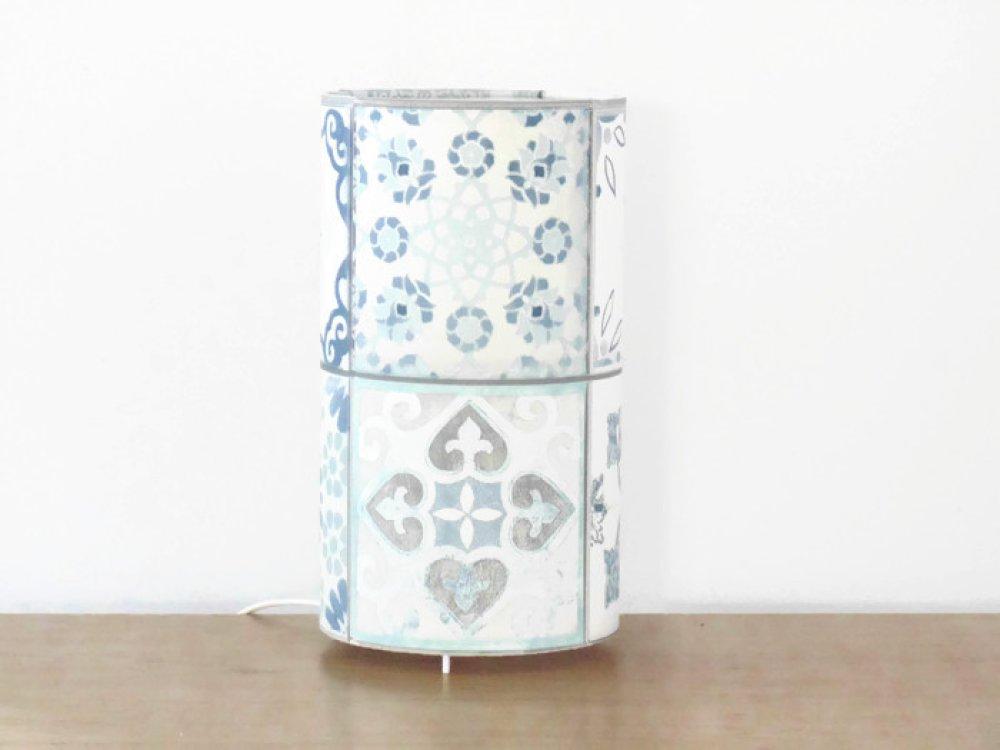 lampe tube azulejos carreaux ciment lisboa béton bleu gris lampe chevet d'appoint idée cadeau