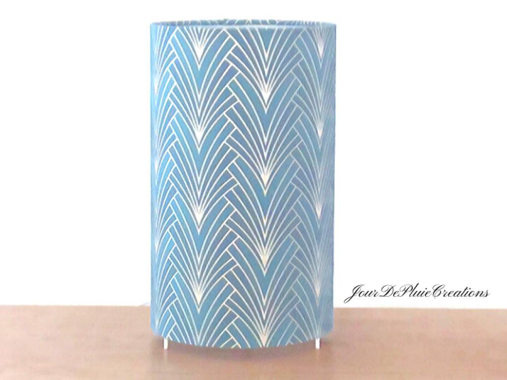 lampe tube motif art déco géométrique bleu et argent - lampe chevet ou d'appoint - idée cadeau anniversaire noël